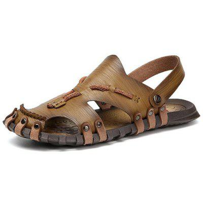Outdoor Leisure Men Leather Sandals Beach Dual-use Shoes