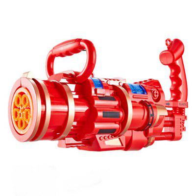 2-in-1 Electric Automatic Five-hole Bubble Machine with Toy Gatling Gun Kid Children Outdoor Sports Gift (without Water)