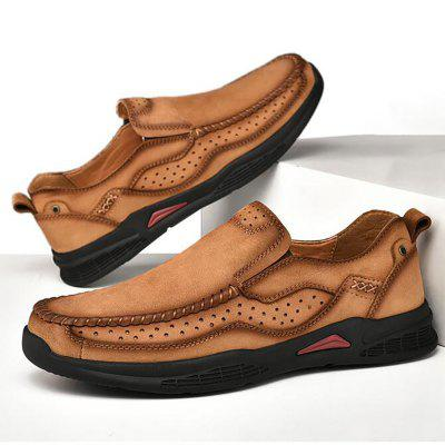 Men Leather Comfy Casual Shoes Round Toe Solid Pattern
