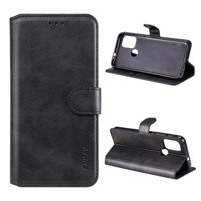 ENKAY Hat-Prince Calf Leather Texture PU+TPU with Card Slot Bracket Function Phone Protection Case for Motorola Moto G30 / G10