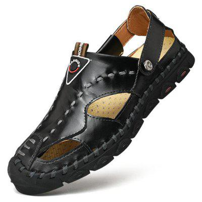 Summer Men Leather Round Toe Dual-use Sandals Outdoor Hollow Beach Shoes Large Size