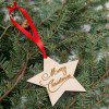 Tree Merry Christmas Star Wooden Hanging Decorations - WOOD
