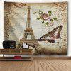 Vintage Butterfly Eiffel Tower Wall Tapestry - LIGHT BROWN