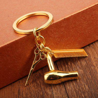 Unique Hair Dryer Comb Scissor Style Alloy Key Chain