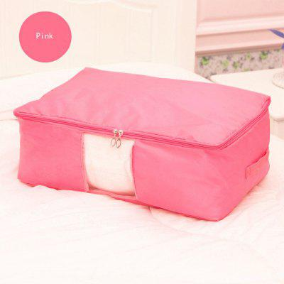 Foldable Under bed Storage Bag with See-Through Window and Handles for Comforters Clothes Blanket Quilt Sweater, Dust-Proof Moisture-Proof Breathable Oxford Zippered Wardrobe Helper, (Pink, L)