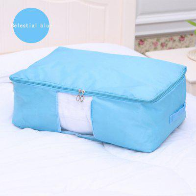 Foldable Underbed Storage Bag with See-Through Window and Handles for Comforters Clothes Blanket Quilt Sweater, Dust-Proof Moisture-Proof Breathable Oxford Zippered Wardrobe Helper, (Blue, L)
