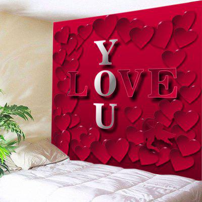 Love You Heart Print Tapestry Dia dos Namorados Wall Hanging