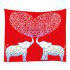 Elephant Lover Pattern Tapestry Valentine's Day Wall Decoration - RED