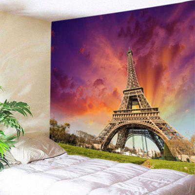 Sunset Effiel Tower Print Tapestry Wall Hanging