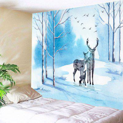Deer Family Bird Printed Wall Decoration Tapestry
