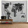 Letter Print World Map Brick Wall Tapestry - COLORMIX