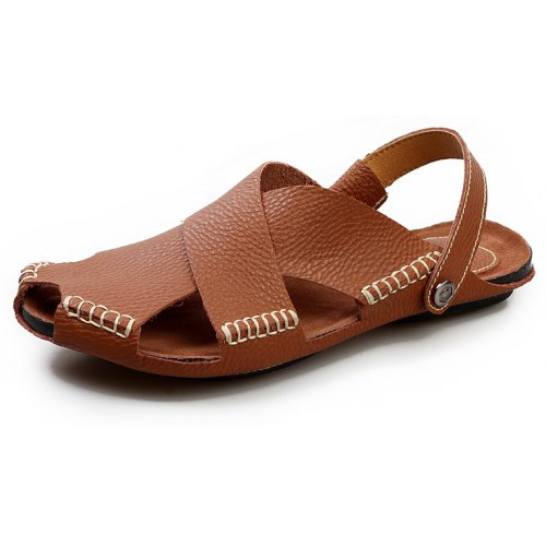 Mens Shoes Mens Fashion Sandal Casual OX Leather with Breathable Holes Closed Head Lacing up Decoration Leisure Shoes Big Size Fashion