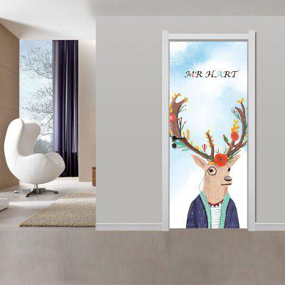 Creative 3D Deer Pattern Door Wall Sticker 2PCS quality creative 3d muscle man pattern printed apron