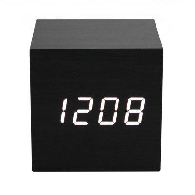 LED Display Wooden Alarm Clock