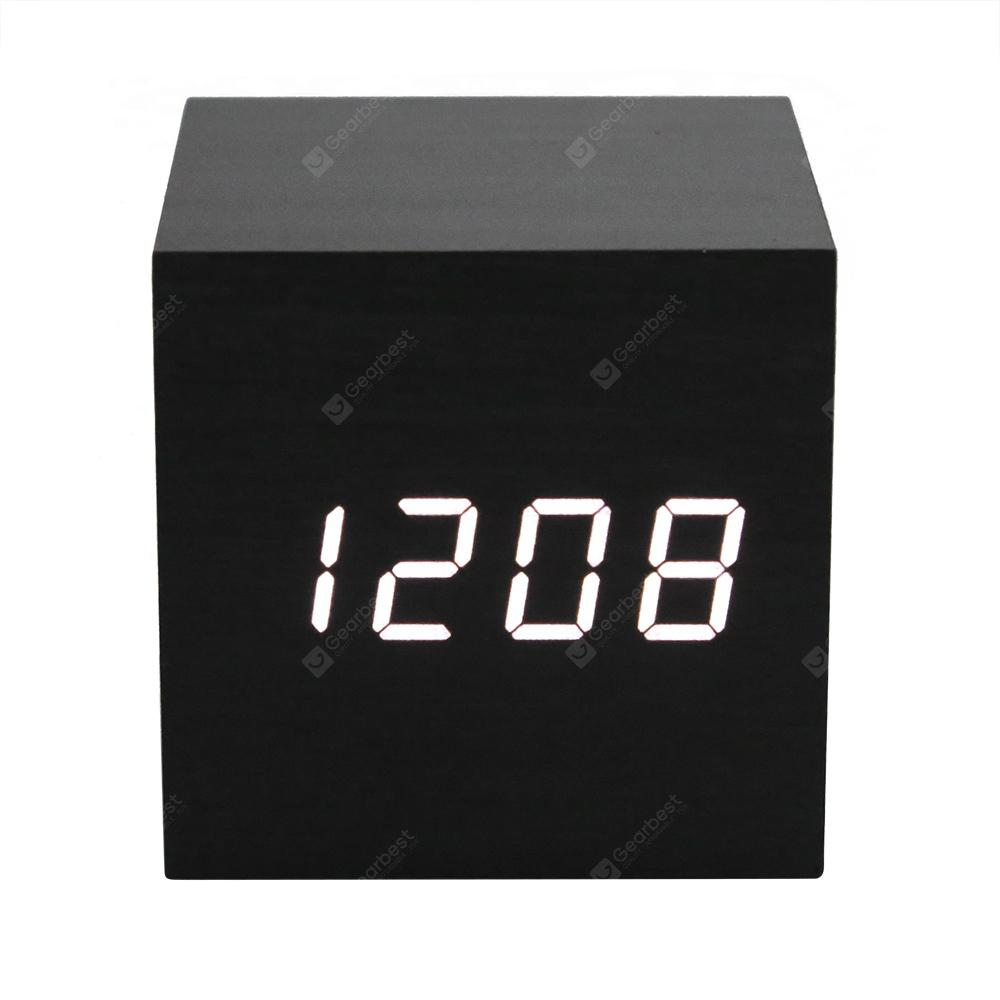 LED Display Wooden Alarm Clock - Black