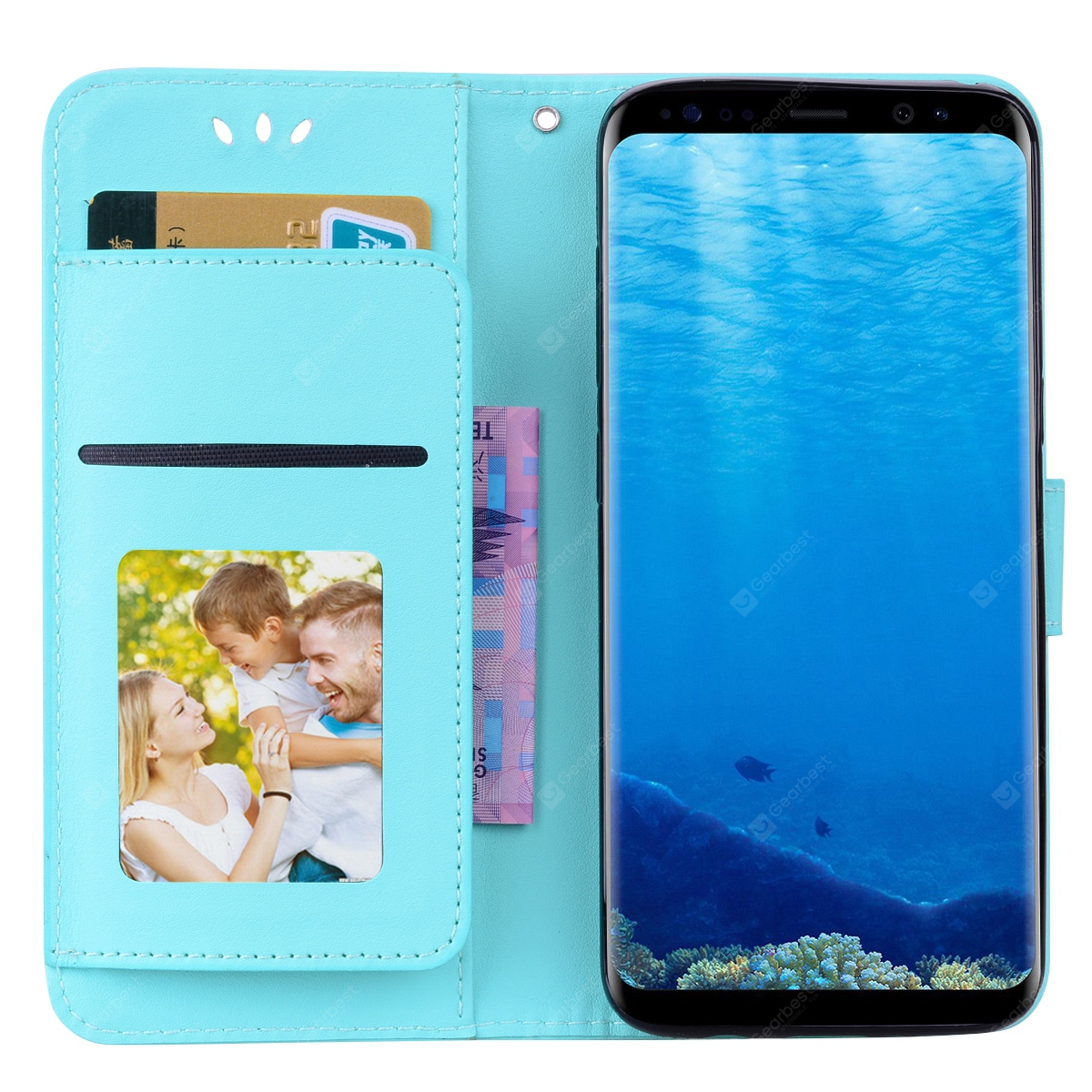 Flip Stand Design Phone Case with Card Slot for Samsung Galaxy S8
