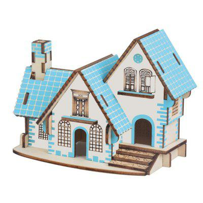 Blue Cabin 3D Wood Model DIY Puzzle Gift