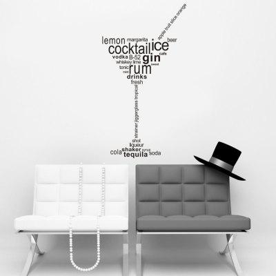 English Quote Goblet PVC Wall Sticker Decoration Decal