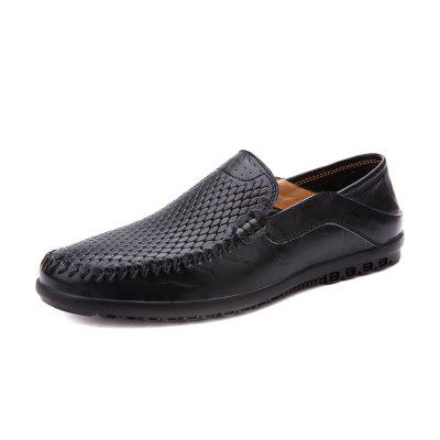 Men Formal Anti-slip Solid Genuine Leather Shoes basic editions mens black genuine leather loafers with snakeskin patterns