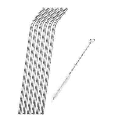 304 Stainless Steel Curved Straw 6pcs with Brush 10mm 304 stainless bar stainless steel round rod smooth bright surface diy hardware