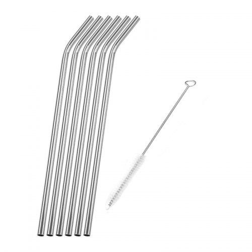 304 Stainless Steel Curved Straw 6pcs with Brush