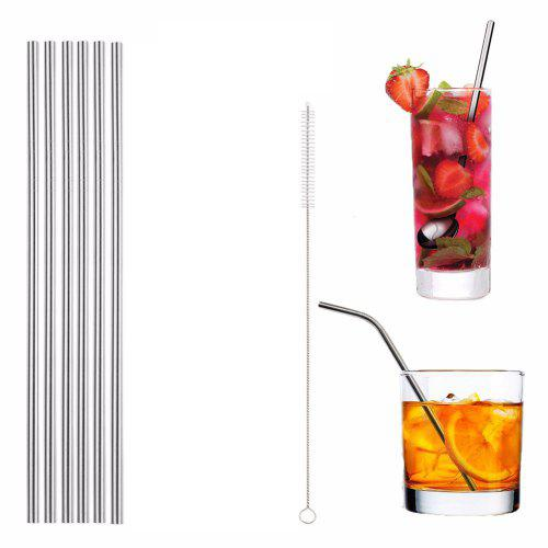 304 Stainless Steel Straight Straw 6pcs with Brush