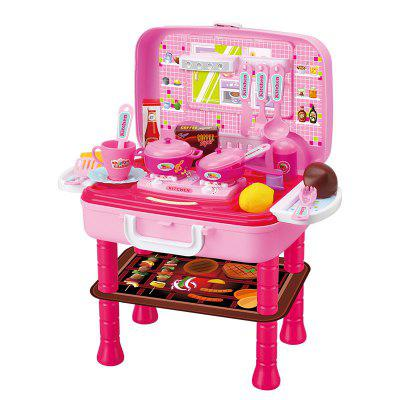 RX1800 - 16 Pretend Play Kids Toy Kitchen Tool Box Chef Suitcase kids baby pretend role play kitchen cooking fruit vegetable child development toys cutting gift new