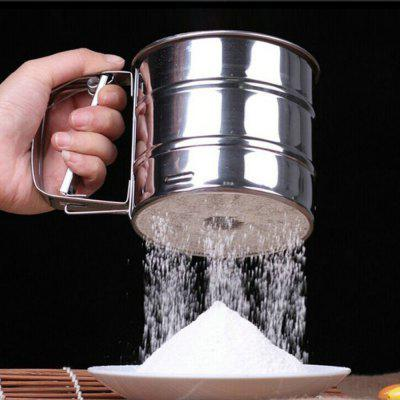 448986 Stainless Steel Manual Flour Sieve Sugar Powder Cup stainless steel dual measuring cup 40cc 20cc