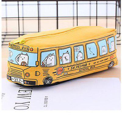 Cute Bus Pattern Large Capacity Canvas Pen Case Storage Bag