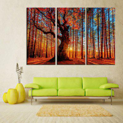 Triptych Panel Painting Autumn Red Leafy Forest Decoration 3pcs
