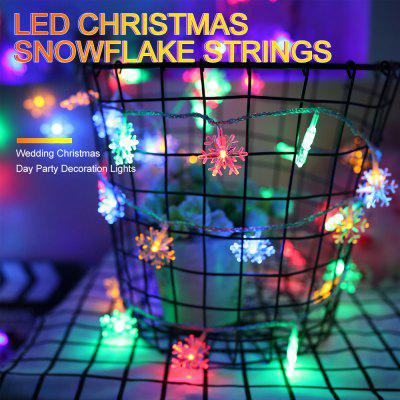 BRELONG Christmas Decoration 10 LED Snowflake String Warm Light