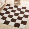 Creative Senior Living Room Suede Splice Floor Mat Crawling Carpet 5pcs - WARM WHITE