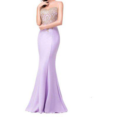 Applique Sexy Back Hollow Perspective  Fishtail Skirt Dress