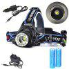 5000 Lm Headlamps Cree XM - L T6 1 Mode Anglehead Super Light with Battery And Charger - BLACK