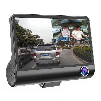 Tecney 3 Cameras Lens 4.0 inch Dual Lens With Rearview Camera Video Recorder Car DVR Dash Cam