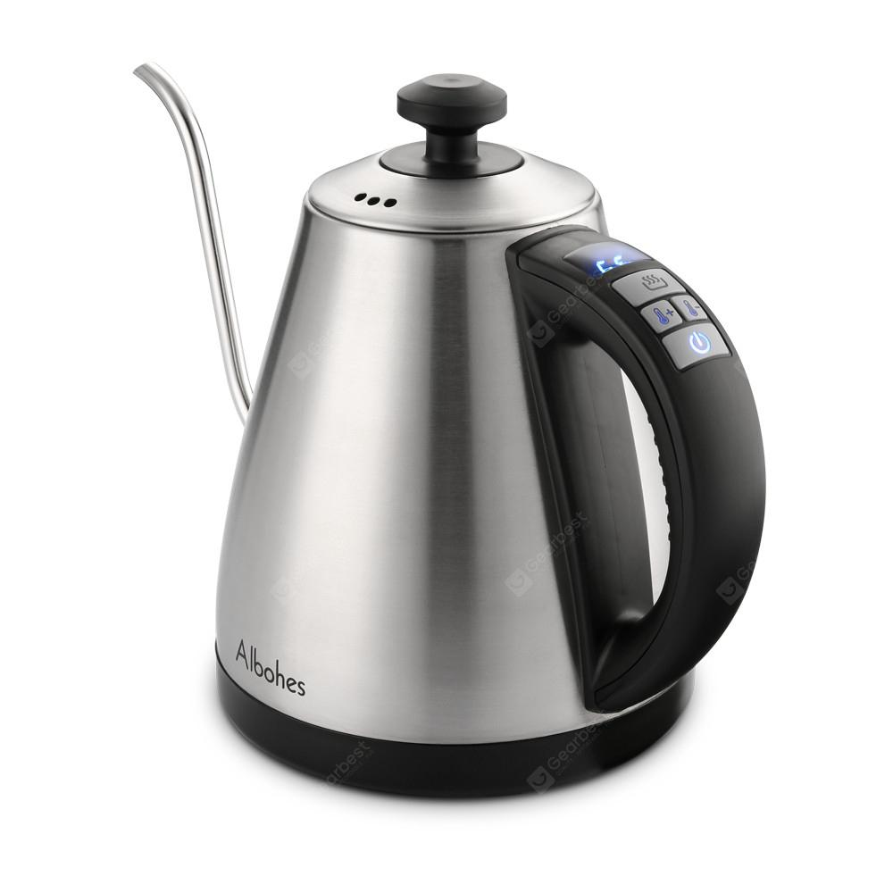 ALBOHES Electric Gooseneck Kettle - SILVER US PLUG (2-PIN)