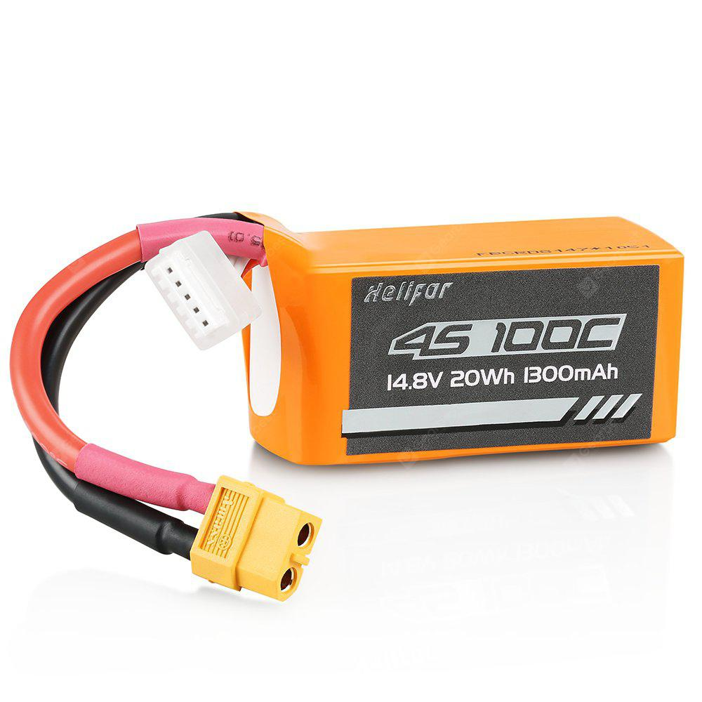 helifar 4S 14.8V 1300mAh 100C Lipo Battery - ORANGE