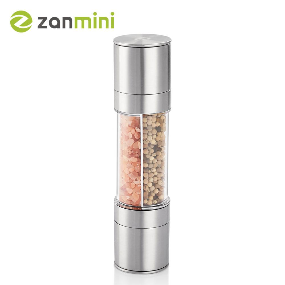 zanmini ZSG02 Stainless Steel Salt and Pepper Grinder Set 2 in 1 Mill