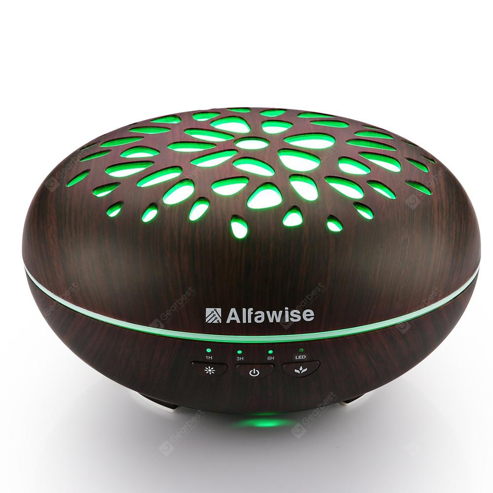 Alfawise SJ - Essential Oil Diffuser - 07C vlažilnik - BLACK WOOD US PLUG (2-PIN)