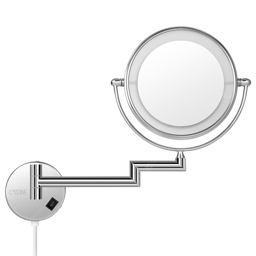 COZZINE 1810D 7X Double-Sided Swivel Wall Mount Makeup Mirror with LED Light | Gearbest
