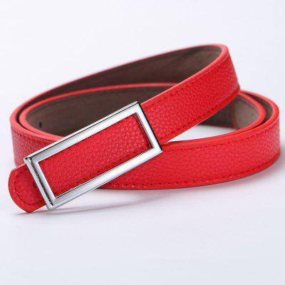 Candy Color Women PU Leather Alloy Smooth Buckle Casual Belt