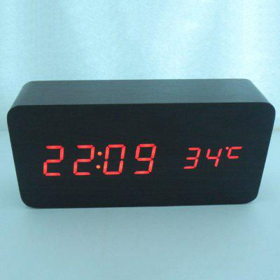 Wooden Clock Voice Control Wood Clock Alarm Clock Digital Alarm Clock