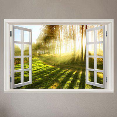 Window Outside Sunlights Forest Pathway Printed Wall Sticker