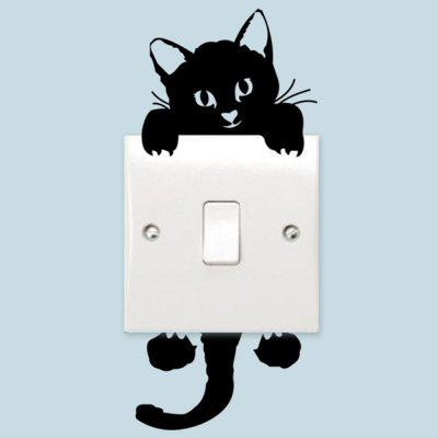 Cute Kitten Switch Autocolant PVC Removable Wall Stickers