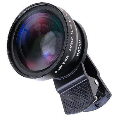 Universal Clip 37MM 0.45X 49UV Super Wide Angle + Macro Two-in-one Mobile Phone Lens