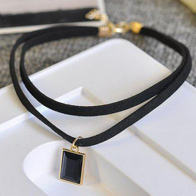 Double Skin Leather Drill Black Jewel Collar Short Collar Chain Chain Sweater Necklace Neck Strap Girl