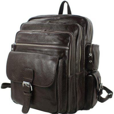 Men's Durable Leather  Backpack Travel Shoulder School Messenger Bags