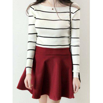 Version Of Commuter Fashion Long Striped Sleeved Sweater