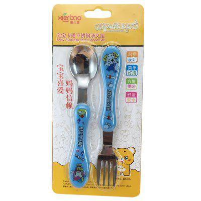 DA101 Korean Version Of The Cartoon Children's Fork Spoon Combination Baby Infant Baby Training Gift Cutlery Set