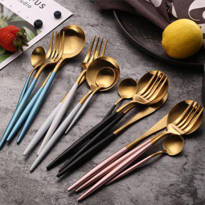 Gold Plated Tableware 304 Stainless Steel Cutlery Knife and Fork Set